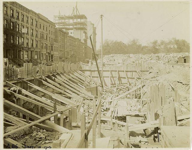 Foundation work, looking west along Fortieth Street.