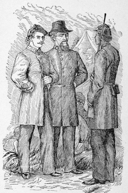 General Edward Johnson and G.H. Stewart as prisoners in charge of a former slave.