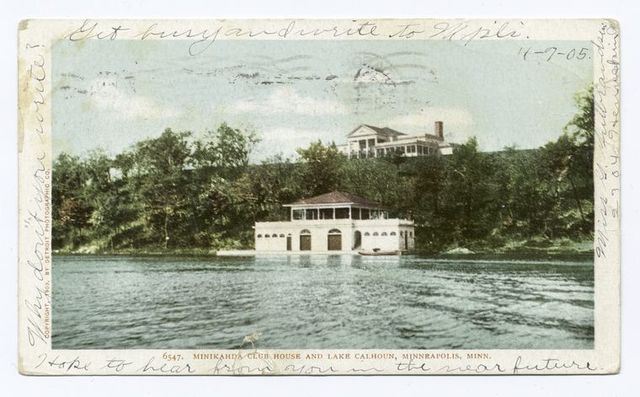 Minikahda Club House and Lake Calhoun, Minneapolis, Minn.