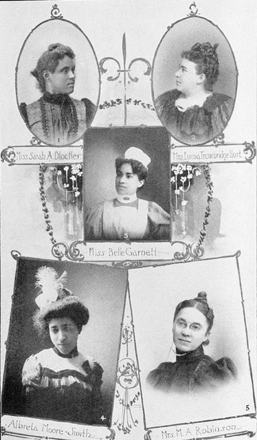 Miss Sarah A. Blocker, Principal of Normal Dept., Florida Baptist College, Jacksonville; Mrs. Emma Trowbridge Hort, leader of Her Race, Jacksonville, Fla.; Miss Belle Garnett, graduate nurse, Provident Hospital, Chicago; Alberta Moore Smith, public stenographer, Chicago; Mrs. M.A. Robinson, a successful business woman, St. Louis.