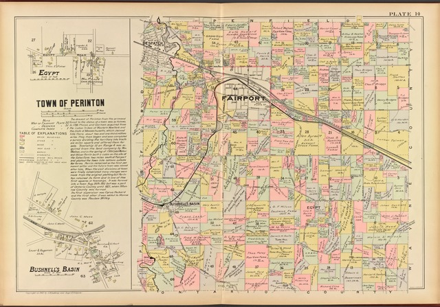 Monroe County, Double Page Plate No. 14  [Map of town of Perinton, Bushnell's Basin, Egypt]