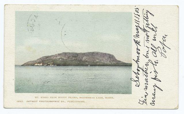 Mount Kineo from Moody Island, Moosehead Lake, Me.