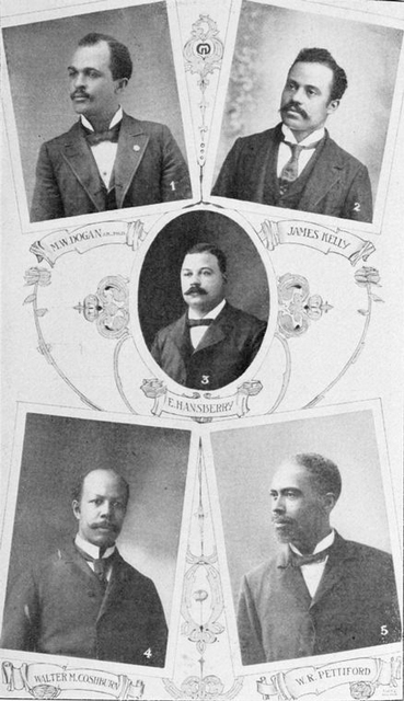 M.W. Dogan, President of Wiley University, Marshall, Tex.; James Kelly, draper and decorator, Decatur, Ill.; E. Hasberry, grocer, Louisville, Ky; Walter M. Coshburn, manufacturer, Worcester, Mass.; W.R. Pettiford, President of Savings Bank, Birmingham, Ala.