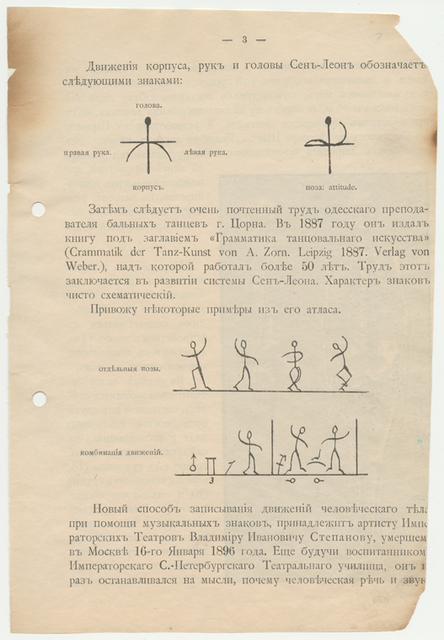 Notation system, by V. I. Stepanov. Published by the Imperial Theatre School