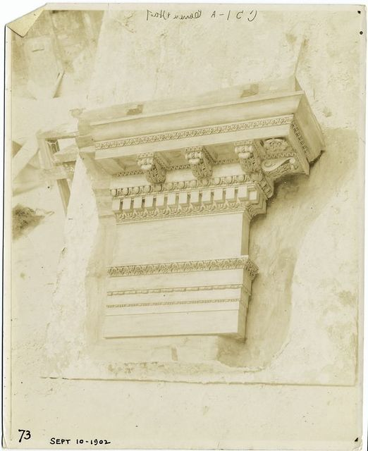 [Plaster model of an entablature.]