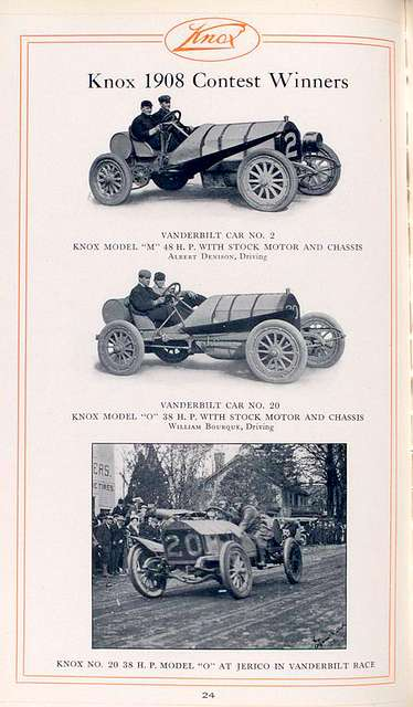 """Knox 1909 contest winners; Vanderbilt car No.2; Knox Model """"M"""", 48 h.p. with stock motor and chassis, Albert Denison, driving; Vanderbilt car No.2; Knox Model """"O"""", 38 h.p. with stock motor and chassis; William Bourque, driving; Knox No.20, 38 h.p. Model """"O"""" at Jerico in Vanderbilt race."""