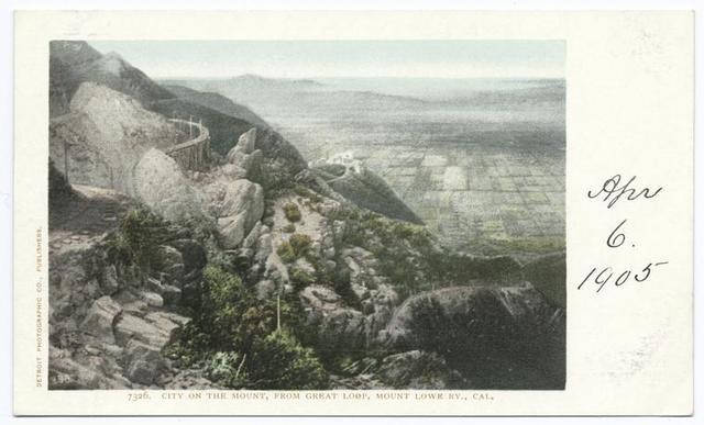 City from Mount on Great Loop, Mt. Lowe Ry., Pasadena, Calif.