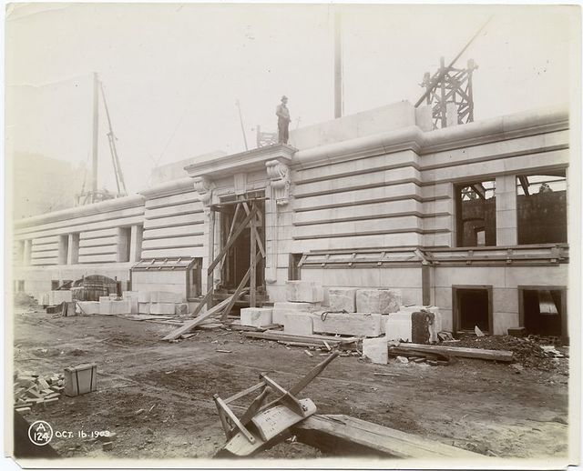 Exterior marble work : construction of the Forty-second Street entrance.