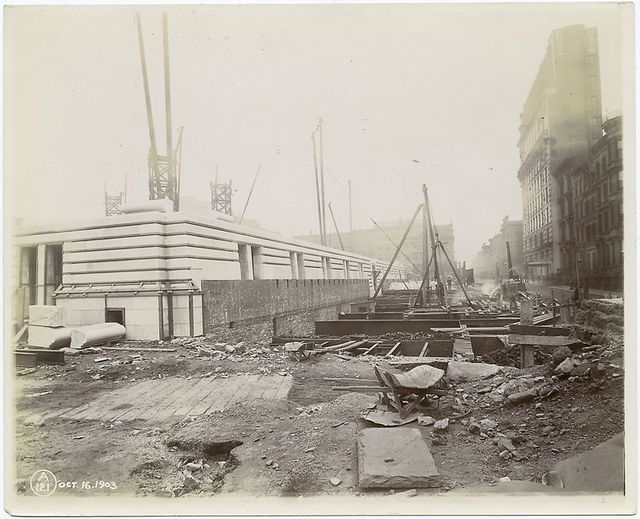Exterior marble work : southwest corner and south facade, looking east along Fortieth Street.