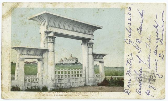 Grecian Gateway and Bldgs. of Universal Brotherhood, Pt. Loma, Calif.