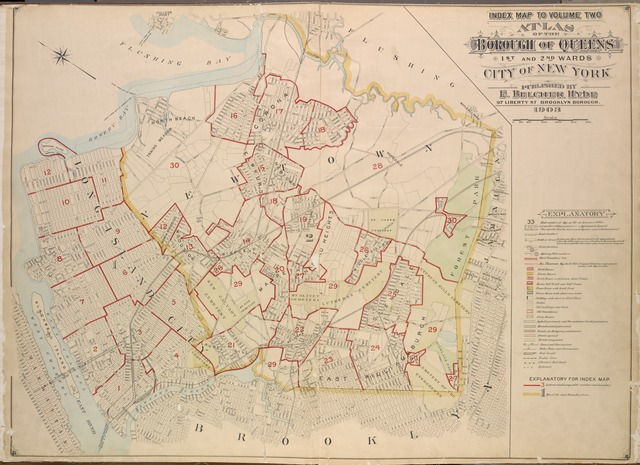 Index map to Volume Two, Atlas borough of Queens, First and Second Wards City and Second Wards. City of New York. Published by E. Belcheer Hyde, 97 Liberty St., Brooklyn Borough. 1903.