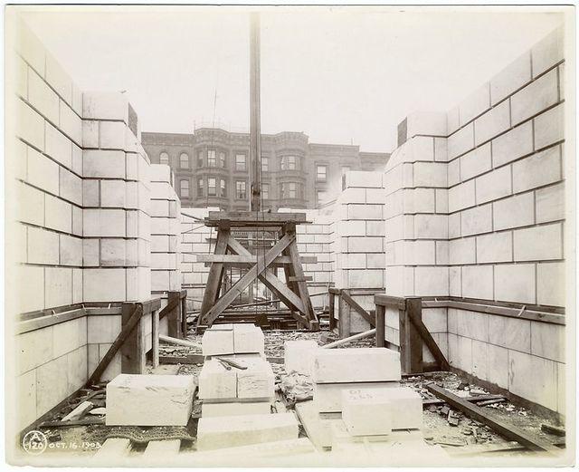 Interior work : construction of walls.