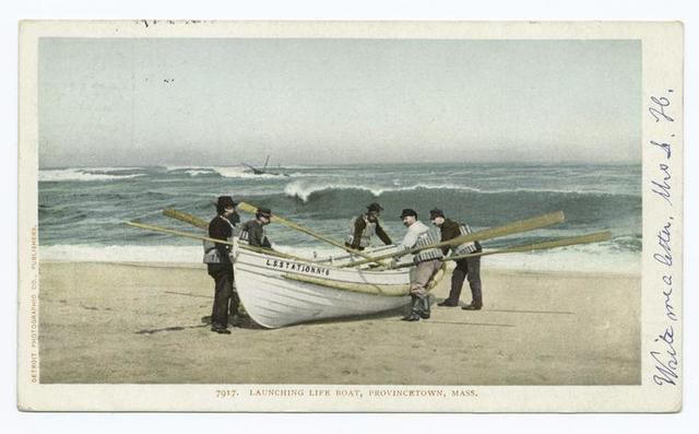 Launching Life Boat, Provincetown, Mass.