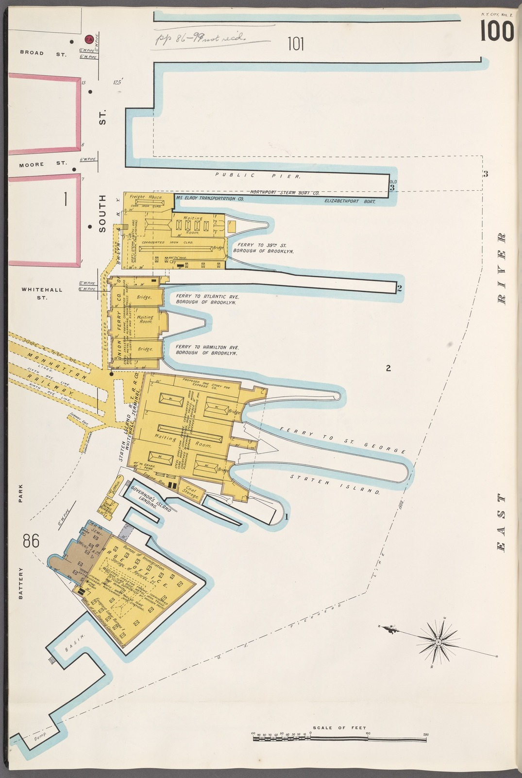 Manhattan, V. 1, Plate No. 100 [Map bounded by Broad St., East River, Battery Park.]