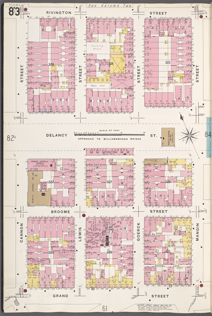 Manhattan, V. 1, Plate No. 83 [Map bounded by Rivington St., Mangin St., Grand St., Cannon St.]