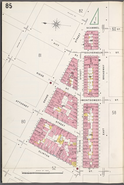 Manhattan, V. 1, Plate No. 85 [Map bounded by Willett St., E. Broadway, Suffolk St., Broome St.]