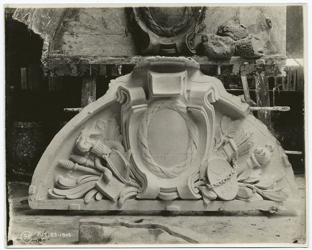 [Plaster model of tympanum sculpture.]