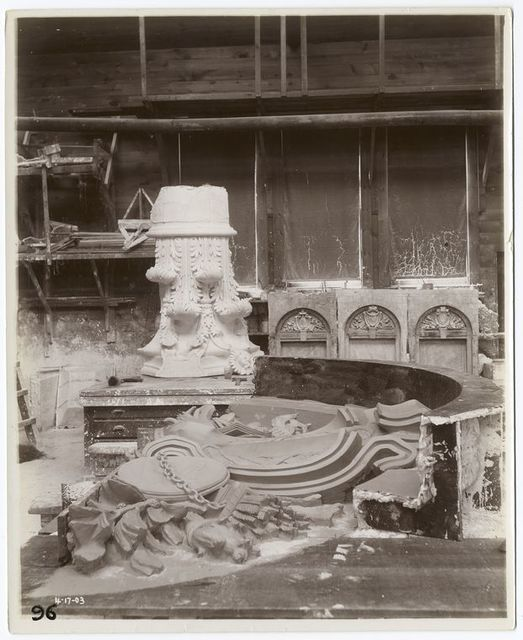 [Plaster models of a Corinthian capital and four versions of tympanum relief sculpture.]