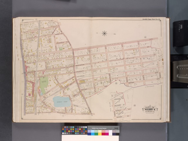 Queens, V. 1, Double Page Plate No. 10; Part of Jamaica, Ward 4; [Map bounded by Canal St., New York Ave., Remsen St., Brown Ave., Rockaway Tpk., Fulton St.]