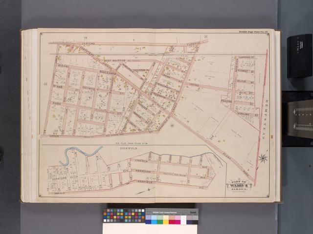 Queens, V. 1, Double Page Plate No. 16; Part of Jamaica, Ward 4; [Map bounded by Jericho Tpk., boundary line of the City of New York, Hempstead and Jamaica Plank Rd., Cedar St., 1st St.; Mill Creek, Bartlett Pl., Garfield Ave., 11th St.]