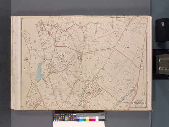 Queens, V. 1, Double Page Plate No. 18; Part of Jamaica, Ward 4; [Map bounded by South St., Old Country Rd., boundary line of City of New York, Merrick Rd., Conduit, Three Mile Mill Rd., Rockaway Tpk.]