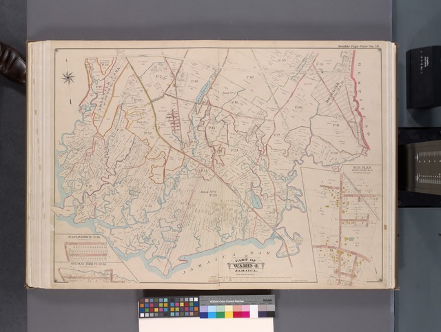 Queens, V. 1, Double Page Plate No. 19; Part of Jamaica, Ward 4; [Map bounded by Conduit, boundary line of City of New York, Hook Canal, Jamaica Bay, Three Mile Mill Rd.]