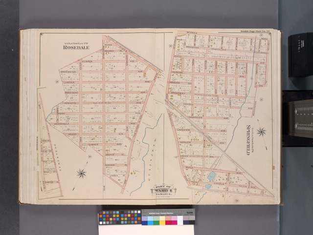 Queens, V. 1, Double Page Plate No. 20; Part of Jamaica, Ward 4; [Map bounded by Plaza, Ocean Ave., Linden Pl., Kinsey Pl.; Merrick Rd., Compton Pl., Lawrence Ave., Long Island Rail Road, Springfield Rd.]