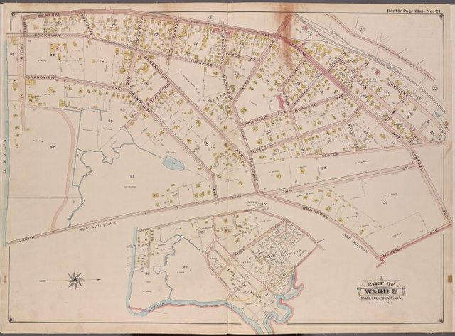 Queens, V. 1, Double Page Plate No. 21; Part of Far Rockaway, Ward 5; [Map bounded by Central Ave., McNeil Ave., Broadway, South St.]