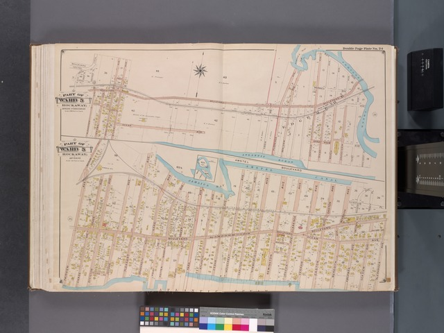 Queens, V. 1, Double Page Plate No. 24; Part of Far Rockaway, Ward 5; [Map bounded by Boulevard, Norton's Creek, Atlantic Ocean, Alexander Ave.; Amstel Canal, Alexander Ave., Atlantic Ocean, Fairview Ave., Bayside Pl.]