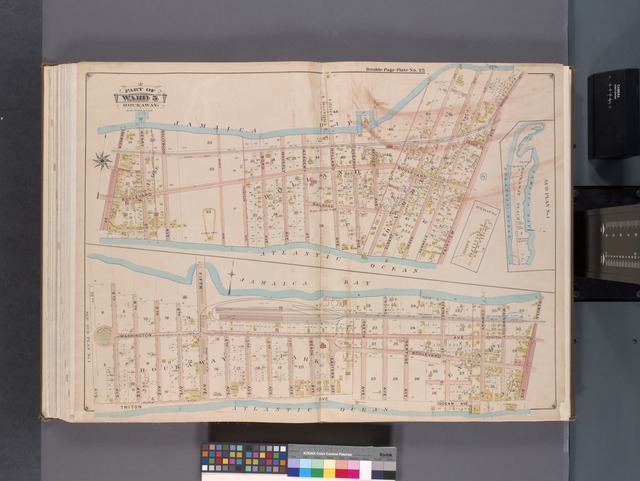 Queens, V. 1, Double Page Plate No. 25; Part of Far Rockaway, Ward 5; [Map bounded by Jamaica Bay, Fairview Ave., Atlantic Ocean, Remsen St.; Jamaica Bay, Remsen Ave., Atlantic Ocean, 10th Ave.]