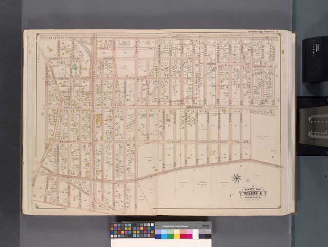 Queens, V. 1, Double Page Plate No. 3; Part of Jamaica, Ward 4; [Map bounded by Atlantic Ave., Jefferson Ave., Liberty Ave., Rockaway Plank Rd., Hopkinton Ave.]