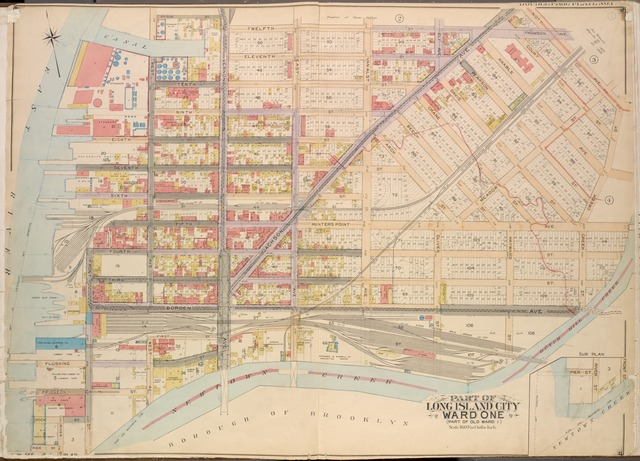 Queens, Vol. 2, Double Page Plate No. 1; Part of Long Island City Ward One (Part of Old Ward One); [Map bounded by Division St., Vernon Ave., 12th St., Ely Ave., Jackson Ave., Thomson Ave., Nott Ave., Creek St., Dutch Kill Creek, Newtown Creek; Including Front St., River St., Pier St., Dock St., Pidgeon St., Flushing St., Borden Ave., 3rd St., 4th St., 5th St., 6th St., 7th St., 8th St., 9th St., 10th St., 11th St.]; Sub Plan; [Map bounded by Pier St., River St.; Including Front St., Newtown Creek]