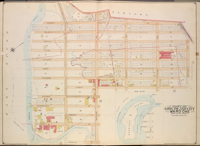 Queens, Vol. 2, Double Page Plate No. 11; Part of Long Island City Ward One (Part of Old Ward Five); [Map bounded by Old Bowery Bay Road, Flushing Ave., Potter Ave., Albert St., Winthrop Ave., Rapelje St.; Including Proposed Canal, Berrians Creek, Berrian Ave., Bowery Bay, Riker Ave.]; Sub Plan; [Map bounded by Blackwell St., Debevoise Ave., Lawrence St., Chauncey St.; Including Goodrich St., Merchant St., Berrian Ave.]