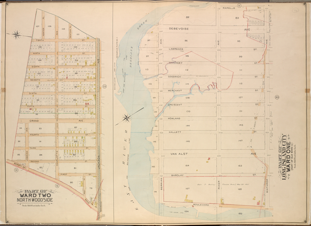 Queens, Vol. 2, Double Page Plate No. 12; Part of Ward Two North Wood Side; [Map bounded by Bowery Road, Jackson Ave., Newtown PL., Hunter PL., 10th St., 9th St., 8th St., 7th St., 6th St., 5th St.; Including Grand Ave., Jamaica Ave., 4th St., 3rd St., 2nd St., 1st St., Charlotte Ave., West St.]; Part of Long Island City Ward One (Part of Old Ward Five); [Map bounded by Rapelje Ave., Winthrop Ave.; Including Boulevard, Berrian Ave.]