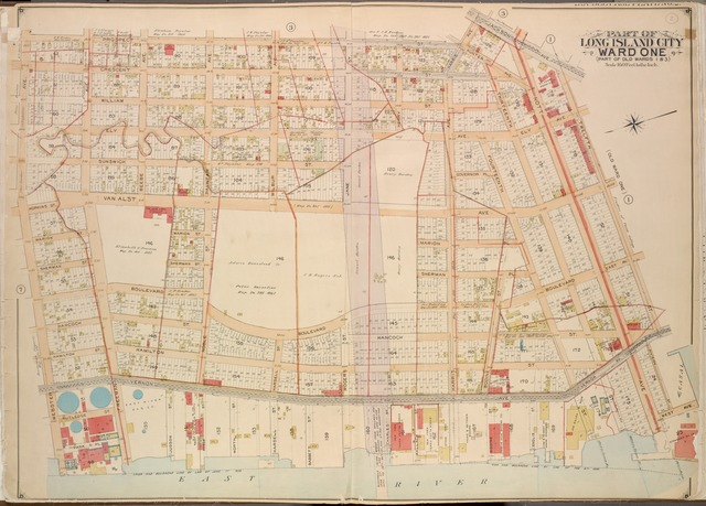 Queens, Vol. 2, Double Page Plate No. 2; Part of Long Island City Ward One (Part of Old Wards One and Three); [Map bounded by Prospect St., Harris Ave., Jackson Ave., 12th St., Vernon Ave., Division St., West Ave., Nott Ave., 13th St., 14th St., Englis St.; Including Bodine St., Harris Ave., Wallach St., Charles St., Babbett St., Harsell St., Worth St., Noble St., Judson St., Freeman Ave., Park PL., Webster Ave.]