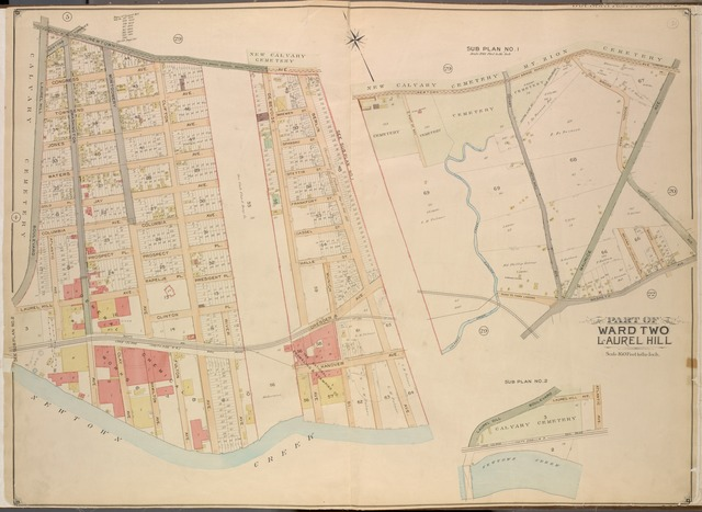 Queens, Vol. 2, Double Page Plate No. 21; Part od Ward Two Laurel Hill; [Map bounded by Newtown Ave., Berlin Ave., Newtown Creek; Including Laurel Hill Ave., Laurel Hill Boulevard]; Sub Plan No. 1; [Map bounded by Newtown Ave., Maurice Ave., Old Brook School Road, Astoria Ave.; Including Maspeth Ave., Calamus Creek, Maspeth Creek]; Sub Plan No. 2; Laurel Hill Boulevard, Laurel Hill Ave., Atlantic Ave., Newtown Creek]