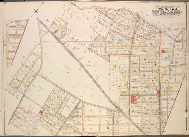 Queens, Vol. 2, Double Page Plate No. 24; Part of Ward Two East Williamsburgh (Evergreen, Ridge Woodheights, Germaniaheights), (St. James Park and Glendale); [Map bounded by Cooper Ave., Irving Ave., Boundary Line between Borough of Queens and Brooklyn, Madison St., Putnam Ave., Prospect Ave.; Including Palmetto St., Fresh Pond Road, Grant St., Sherman St., Myrtle Ave., Glasser St.]; Sub Plan; [Map bounded by Irving Ave., Moffalt St., Cooper Ave., Van Vorhees St.; Including Schaeffer St., Covert St., Boundary Line between borough of Queens and Brooklyn