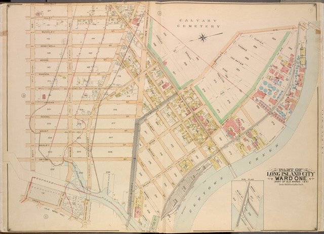 Queens, Vol. 2, Double Page Plate No. 4; Part of Long Island City Ward One (Part of Old Wards One and Two); [Map bounded by Van Pelt St., Greenpoint Ave., Hunters Point Ave., Borden Ave., Bradlay Ave.; Including Newtown Creek, Water St., Proposed Canal (Dutch Kills Creek),Creek St., Nott Ave.]; Sub Plan; [Map bounded by Marsh St., Water St.; Including Proposed Canal]