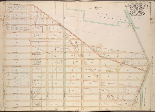 Queens, Vol. 2, Double Page Plate No. 5; Part of Long Island City Ward One (Part of Old Ward Two) and Part of Newtown Ward Two; [Map bounded by Woodside Ave., Celtic Ave. (Highway to Calvary Cemetery), Hunters Point Ave.; Including Borden Ave., Van Pelt St., Middleburg Ave.]