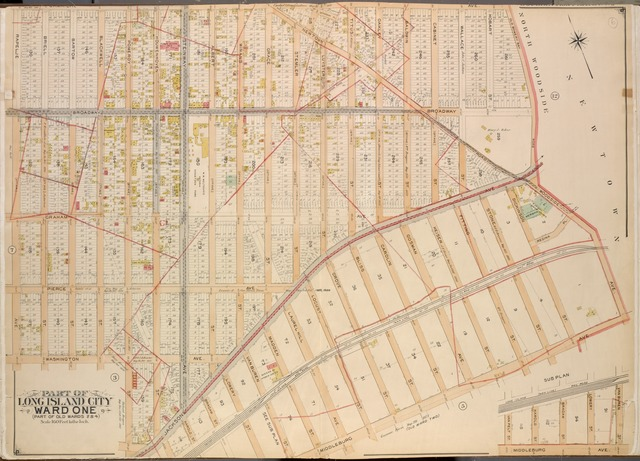 Queens, Vol. 2, Double Page Plate No. 6; Part of Long Island City Ward One (Part of Old Wards Two and Four); [Map bounded by Jamaica Ave., Old Bowery Bay Road, Woodside Ave., Middleburg Ave., Van Buren St., Lowery St.; Including Bragaw St., Harold St., Jackson Ave., Pomeroy St., Washington Ave., Rapelje Ave.]; Sub Plan; [Map bounded by Van Pelt St., Harold St., Bragaw St.; Including Lowery St., Van Buren St., Middleburg Ave.]