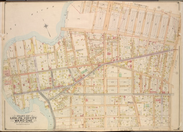 Queens, Vol. 2, Double Page Plate No. 8; Part of Long Island City Ward One ( Part of Old Wards Four and Five); [Map bounded by Boulevard, Emily Terrace, Edmard St., Barclay St., Woolsey Ave., De Bevoise Ave. (Bradford St.), Jamaica Ave., Fulton Ave.; Including Mills St. (1st St.), Orchard St., Munson St., Halsey St., Perrot PL., Wardell St., Remsen St., Woolsey St., Hoyt Ave.]