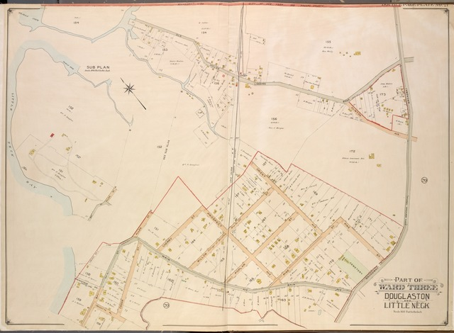 Queens, Vol. 3, Double Page Plate No. 21; Part of ward Three Sub Plan; [Map bounded by Little Neck Bay, Odalls Cove; Including Bay St., Allen St.]; Part of ward Three Douglaston and Little Neck; [Map bounded by Boundary Line of City of New York and Nassau County, Odalls Cove, Old House Landing Road, Clinton Ave., Broadway, North Hempstead Turnpike, Orient Ave., Prospect Ave., Main Ave., Regatta Pl., Bay Ave., The Crescent, Vannostrand Ave., Access Lane; Including Pine St., Poplar St., Willow St., Cherry St., Allen St., Cedar St., Bay St., Beach St.]