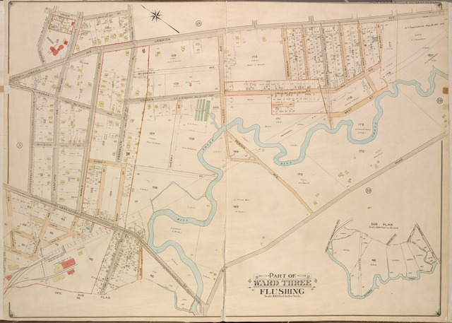 Queens, Vol. 3, Double Page Plate No. 6; Part of ward Three Sub Plan; [Map bounded by Flushing Creek; Including Fowler St., Willow St., Lawrence St.]; Part of ward Three Flushing. [Map bounded by Bradford Ave., Sanford Ave., Maple Ave., Prospect Ave., Jaggar Ave., Jamaica Ave., Colden Ave., Hillside Ave., Remsen Ave., Mhl Road, McDonald Ave.; Including Monroe St., Union St., Division St., King St., Charles St., James St., High St., Bank St., Fowler St., Franklyn Pl. Willow St., Cherry St., Summit St., Lawrence St., Geranium St., Holly St., Juniper St., Kalmia St., Larch St., Mulberry St.]