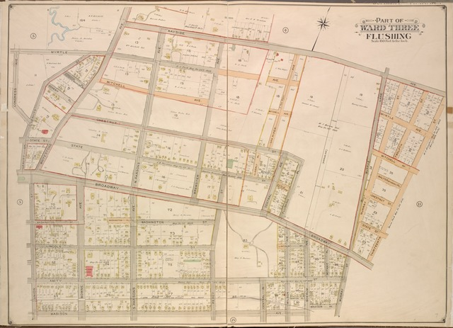 Queens, Vol. 3, Double Page Plate No. 7; Part of ward Three Flushing. [Map bounded by Congress Ave., Myrtle Ave., Bayside Ave., Whitestone Ave., S. Parsons Ave., N. Parsons Ave., Bowne Ave., Brewster Ave., Claverly Pl., Vanriper Ave., Central Ave., Flushing Pl., Wilson Ave., Boerum Ave., Madison Ave., Botanic Pl., Broadway, Murray Lane, Mitchell Ave., Walter PL., Mc. Creery, Covert Pl., Osgood Pl., Washington PL.; Including Leavitt St., State St., Chestnut St., Union St., Washington St., Lincoln St., Amity St., Percy St., Murray St., 12th St., 13th St.]