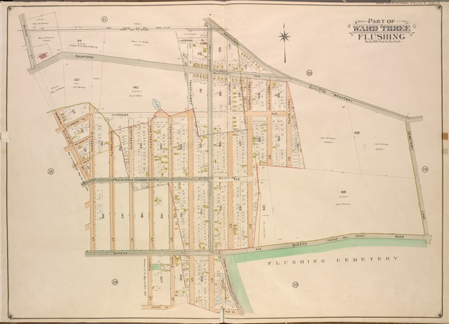 Queens, Vol. 3, Double Page Plate No. 9; Part of Ward Three Flushing. [Map bounded by Sanford Ave., Lucerne PL., Cypress Ave., Queens Ave., Broadway, Franconia Ave., Queens Road, Rocky Hill Road, Cemetery Lane; Including Murray St., Delaware St., Elm St., Linden St., Locust St., Maple St., 16th St., 17th St., 18th St., 19th St., 20th St., 21st St., 22nd St., 23rd St., 24th St., 25th St., 26th St.]