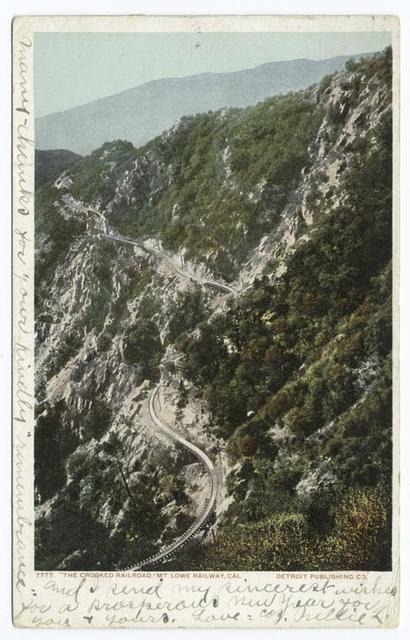 The Crooked Railroad. Mt. Lowe Ry. (Up Alpine), Pasadena, Calif.