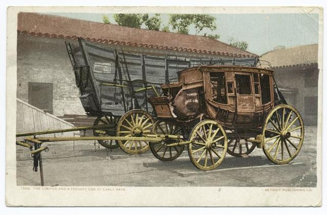 The Limited and a Freight Car of Early Days, West