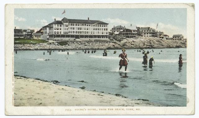 Young's Hotel from Beach, York Beach, Me.