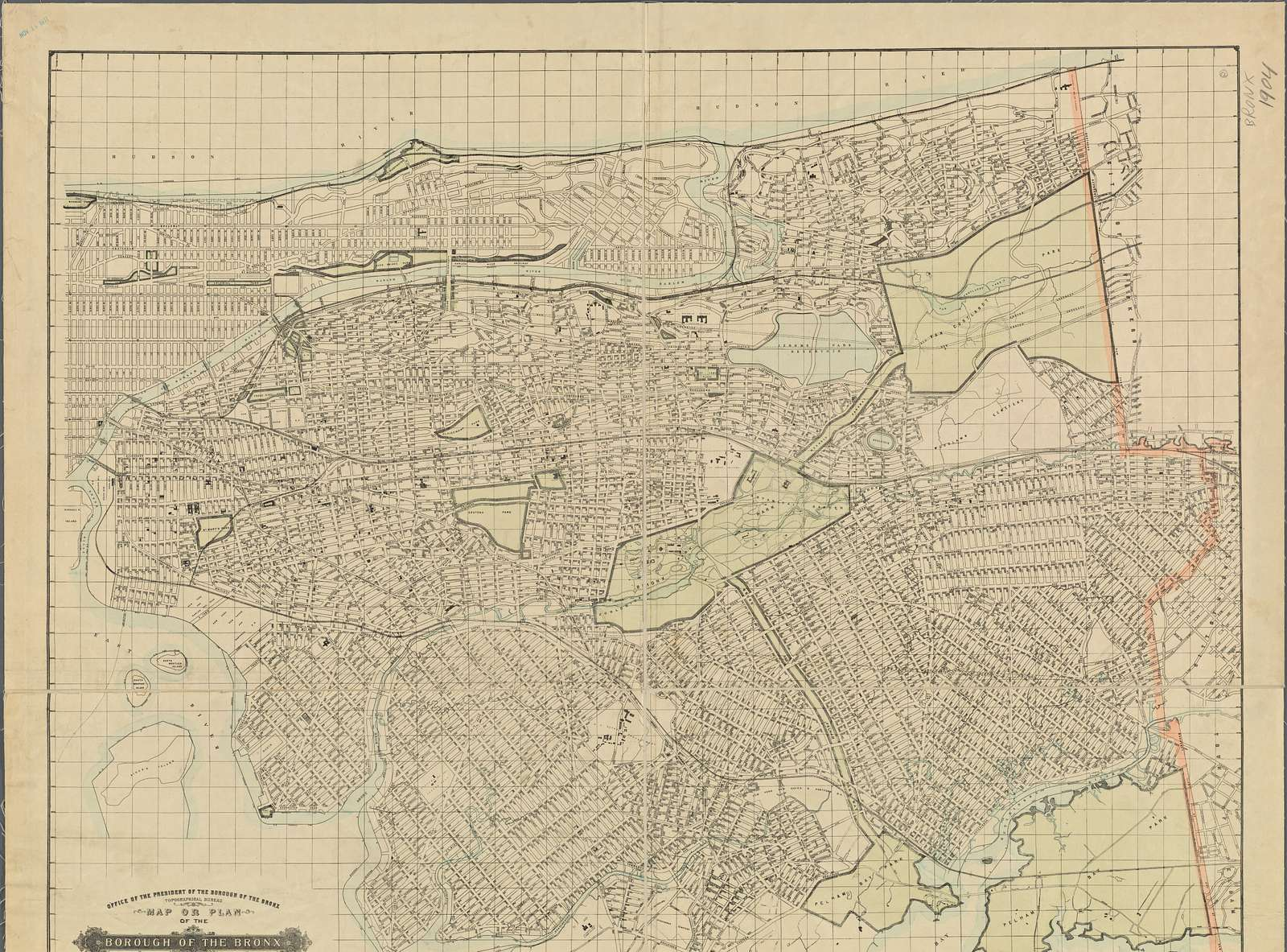 Map or plan of the Borough of the Bronx, City of New York, showing the system of house numbers.