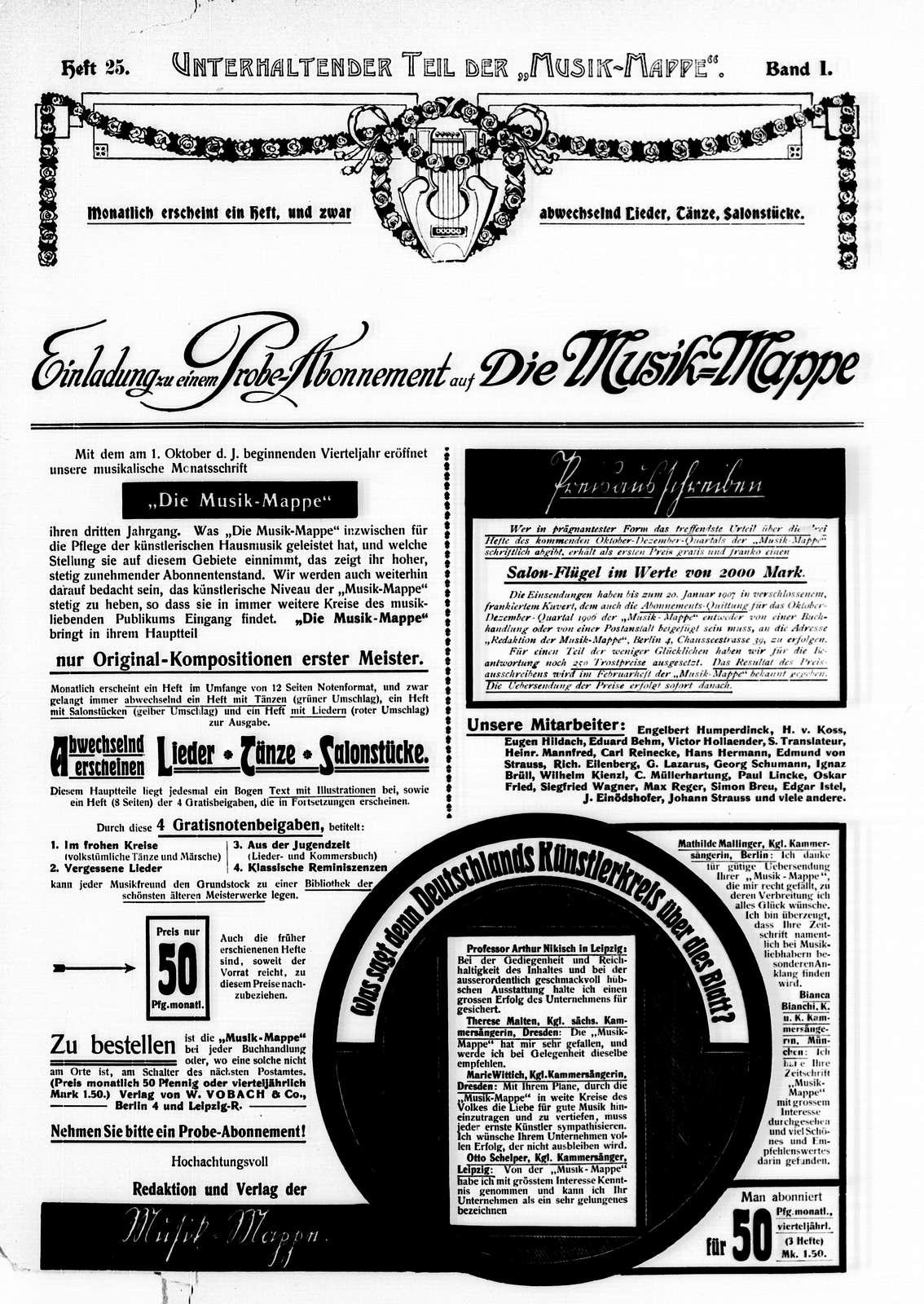 Musik-Mappe: eine Zeitschrift mit Noten-Beilagen, Vol. 1, no. 25